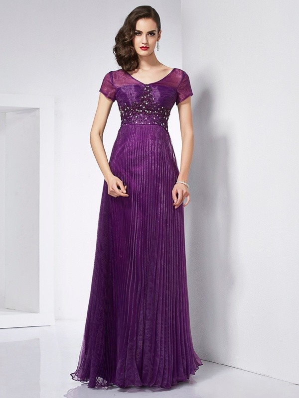 A-Line/Princess Beading V-neck Short Sleeves Floor-Length Organza Dresses