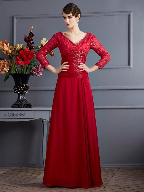 Sheath/Column Lace V-neck 3/4 Sleeves Floor-Length Chiffon Dresses