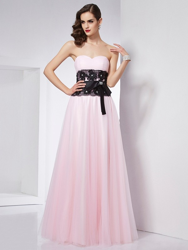 A-Line/Princess Lace Sweetheart Sleeveless Floor-Length Net Dresses