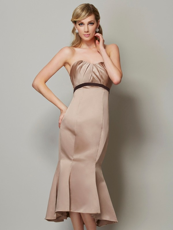 Sheath/Column Sash/Ribbon/Belt Strapless Sleeveless Tea-Length Satin Dresses