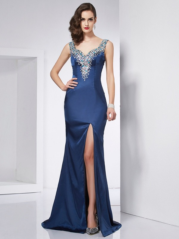 Trumpet/Mermaid Beading Straps Sleeveless Sweep/Brush Train Elastic Woven Satin Dresses