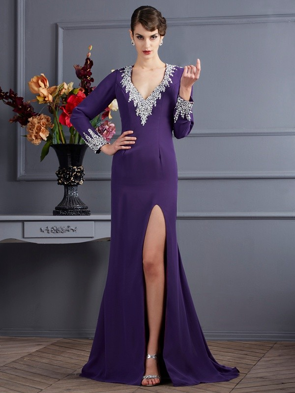 Trumpet/Mermaid Beading V-neck Long Sleeves Sweep/Brush Train Chiffon Dresses