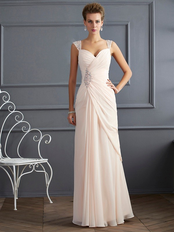 Sheath/Column Beading Straps Sleeveless Floor-Length Chiffon Dresses
