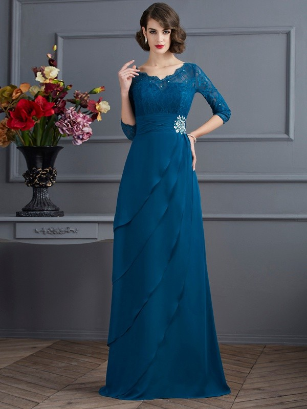 A-Line/Princess V-neck 3/4 Sleeves Floor-Length Chiffon Mother of the Bride Dresses