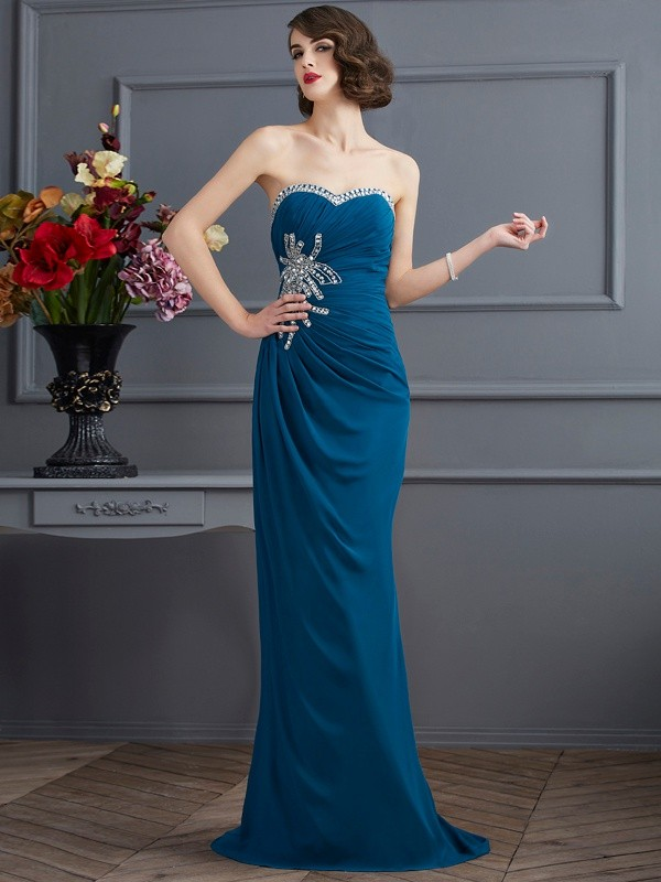 Sheath/Column Sweetheart Sleeveless Sweep/Brush Train Chiffon Dresses