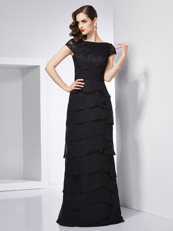 Sheath/Column Scoop Short Sleeves Floor-Length Chiffon Dresses