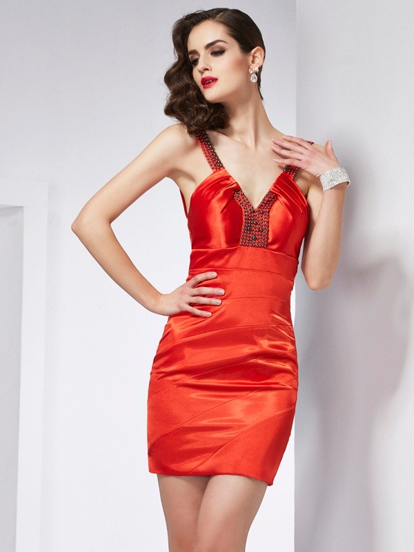 Sheath/Column Beading V-neck Sleeveless Short/Mini Elastic Woven Satin Dresses