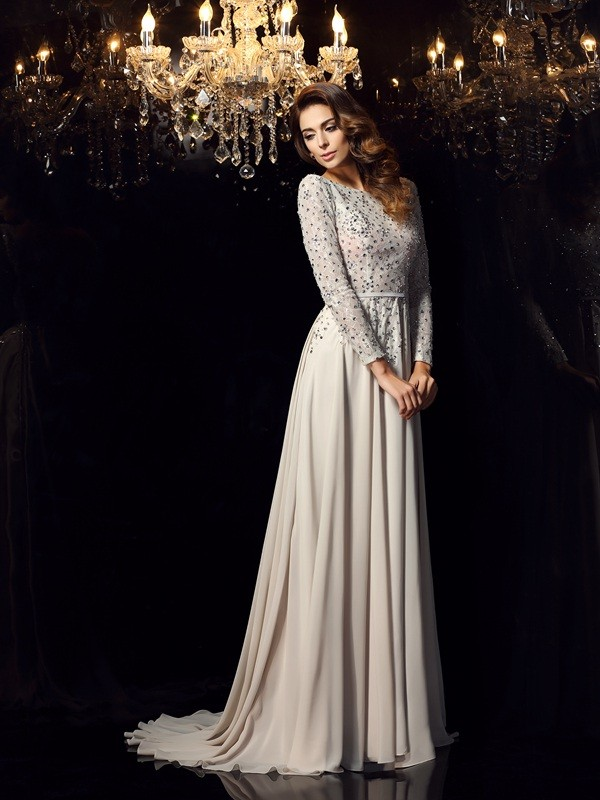 A-Line/Princess Beading Scoop Long Sleeves Court Train Chiffon Dresses