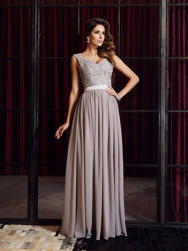 A-Line/Princess Applique Straps Sleeveless Floor-Length Chiffon Dresses