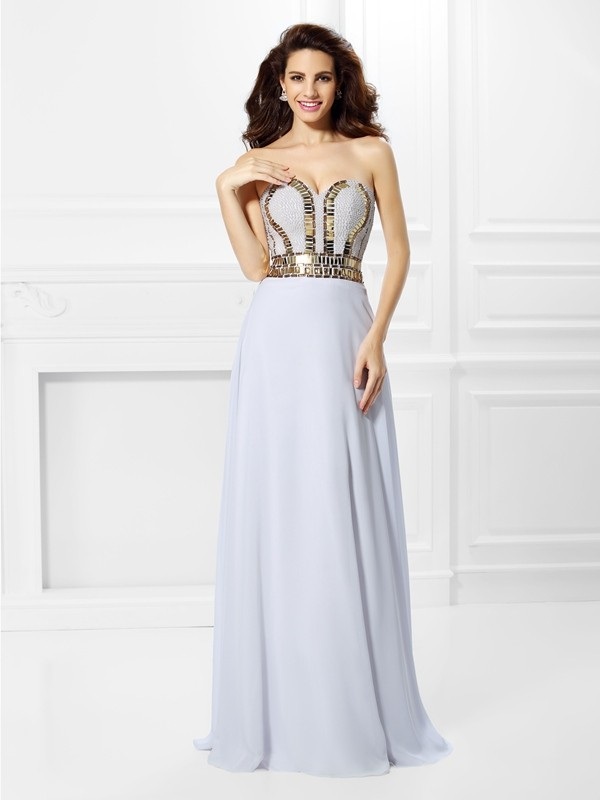 Empire Pleats Sweetheart Sleeveless Floor-Length Chiffon Dresses