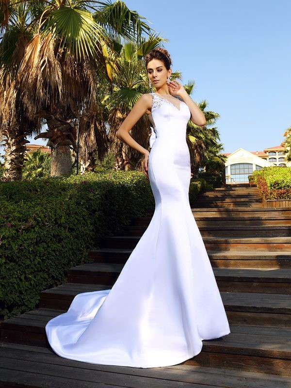 Trumpet/Mermaid Beading Scoop Sleeveless Court Train Satin Wedding Dresses
