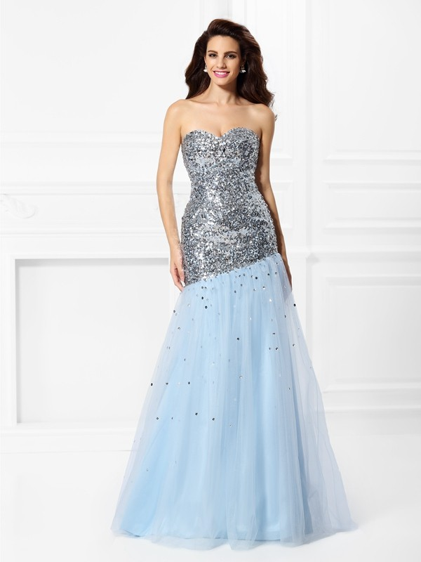 Trumpet/Mermaid Sequin Sweetheart Sleeveless Floor-Length Satin Dresses