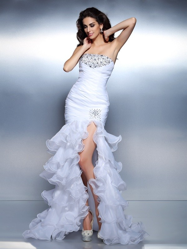 Trumpet/Mermaid Beading Strapless Sleeveless Floor-Length Organza Dresses
