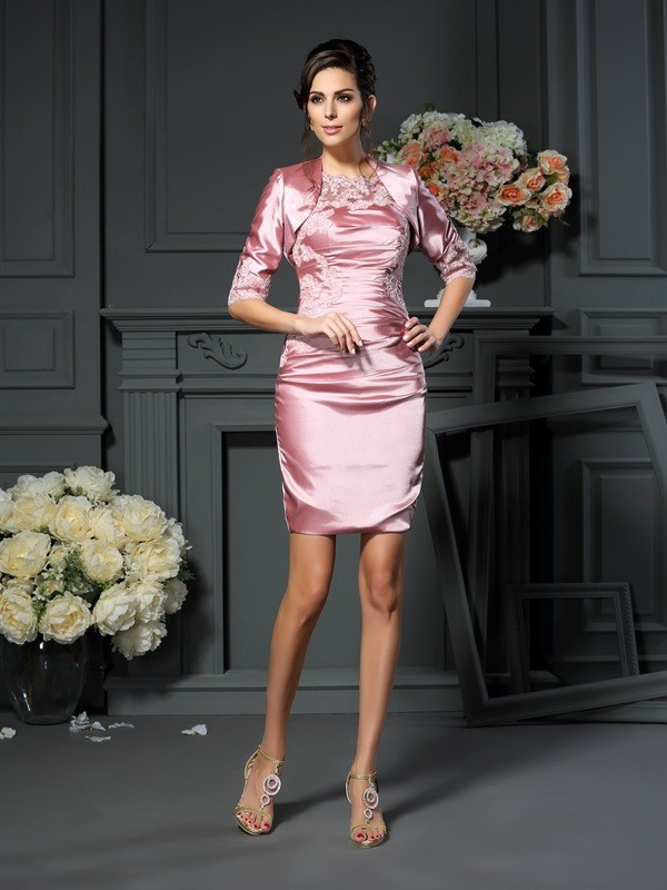 Sheath/Column Applique Scoop Sleeveless Short/Mini Elastic Woven Satin Mother of the Bride Dresses