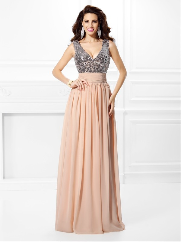 A-Line/Princess Paillette V-neck Sleeveless Floor-Length Chiffon Dresses