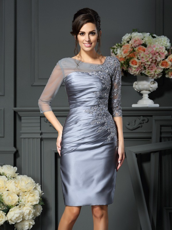 Sheath/Column Beading Scoop 1/2 Sleeves Knee-Length Satin Mother of the Bride Dresses
