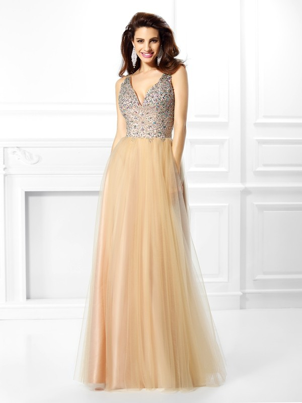 Ball Gown Beading V-neck Sleeveless Floor-Length Satin Dresses