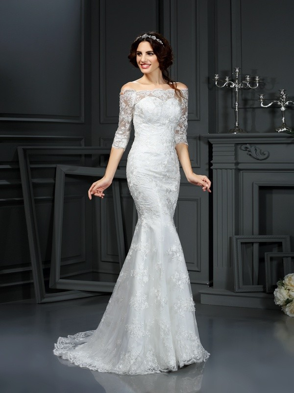 Sheath/Column Lace Off-the-Shoulder 1/2 Sleeves Sweep/Brush Train Lace Wedding Dresses