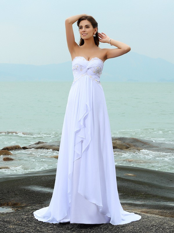 A-Line/Princess Beading Sweetheart Sleeveless Sweep/Brush Train Chiffon Wedding Dresses