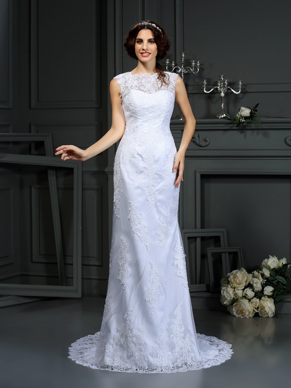 Sheath/Column Lace High Neck Sleeveless Court Train Lace Wedding Dresses