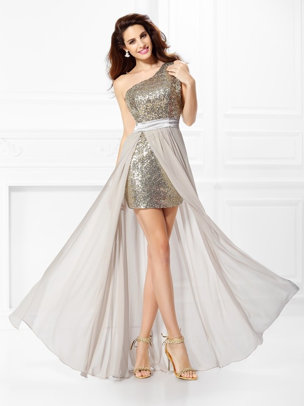 A-Line/Princess Sequin One-Shoulder Sleeveless Floor-Length Chiffon Dresses