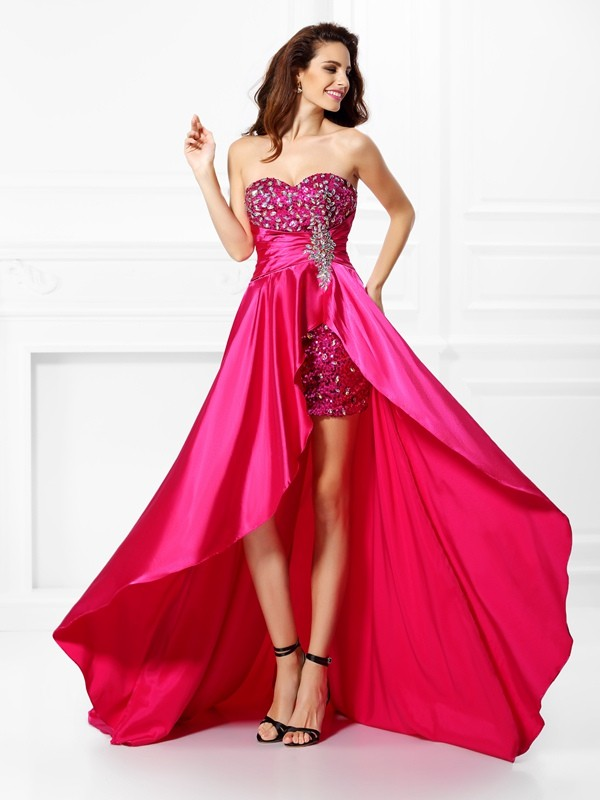 A-Line/Princess Beading Sweetheart Sleeveless Asymmetrical Elastic Woven Satin Dresses