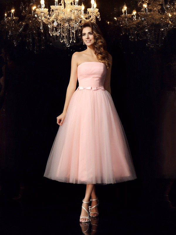 Ball Gown Sash/Ribbon/Belt Strapless Sleeveless Tea-Length Satin Dresses