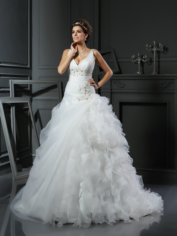 Ball Gown Ruffles V-neck Sleeveless Court Train Organza Wedding Dresses