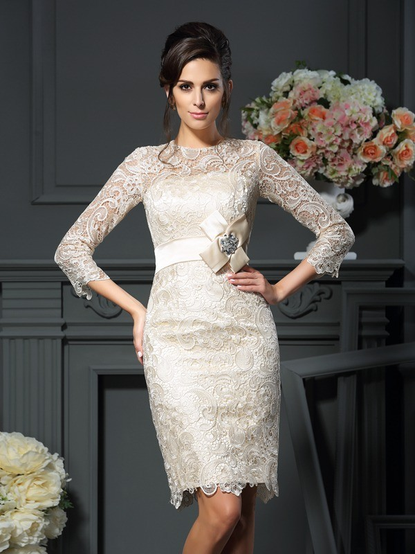 Sheath/Column Bowknot Scoop 3/4 Sleeves Short/Mini Lace Mother of the Bride Dresses