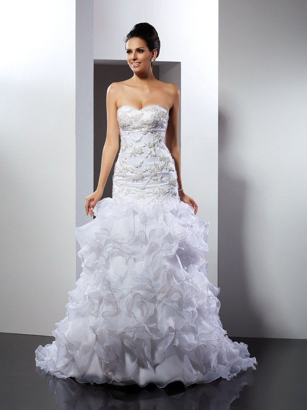 Trumpet/Mermaid Beading Sweetheart Sleeveless Chapel Train Organza Wedding Dresses