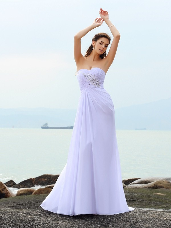 Sheath/Column Beading Sweetheart Sleeveless Chapel Train Chiffon Wedding Dresses