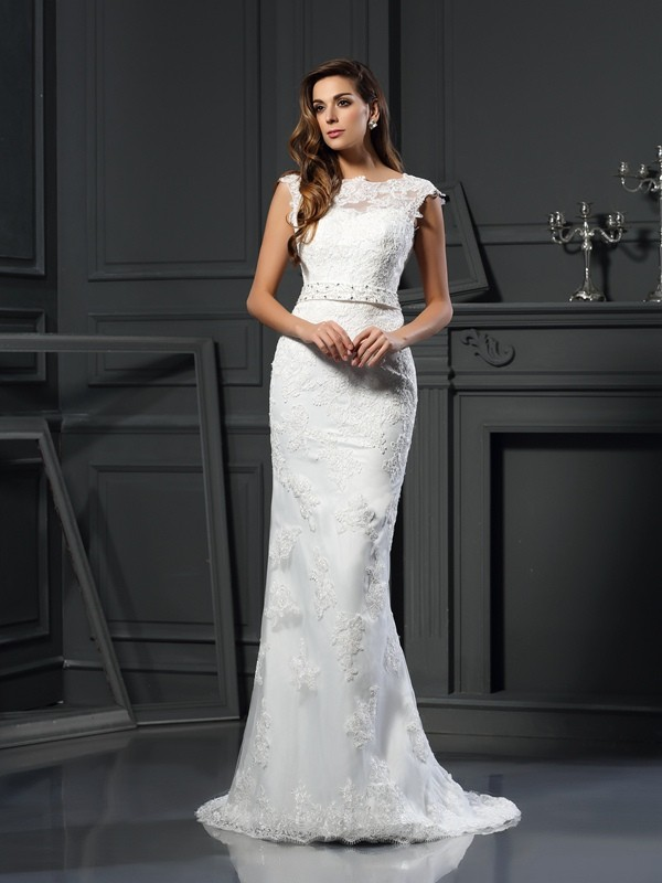 A-Line/Princess Lace Bateau Sleeveless Court Train Satin Wedding Dresses