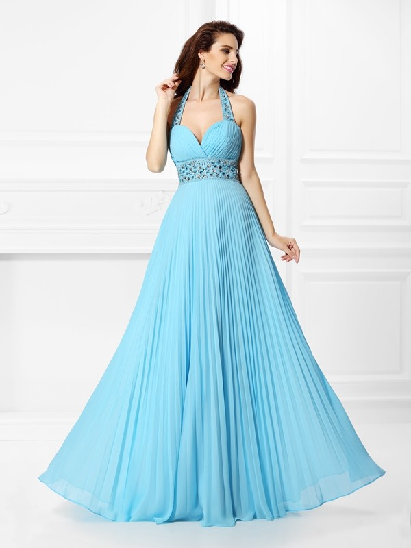 A-Line/Princess Rhinestone Halter Sleeveless Floor-Length Chiffon Dresses