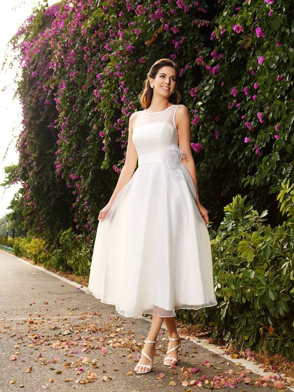 A-Line/Princess Sash/Ribbon/Belt Bateau Sleeveless Ankle-Length Satin Wedding Dresses