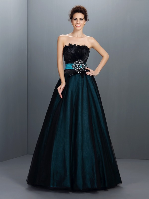 Ball Gown Feathers/Fur Strapless Sleeveless Floor-Length Elastic Woven Satin Dresses