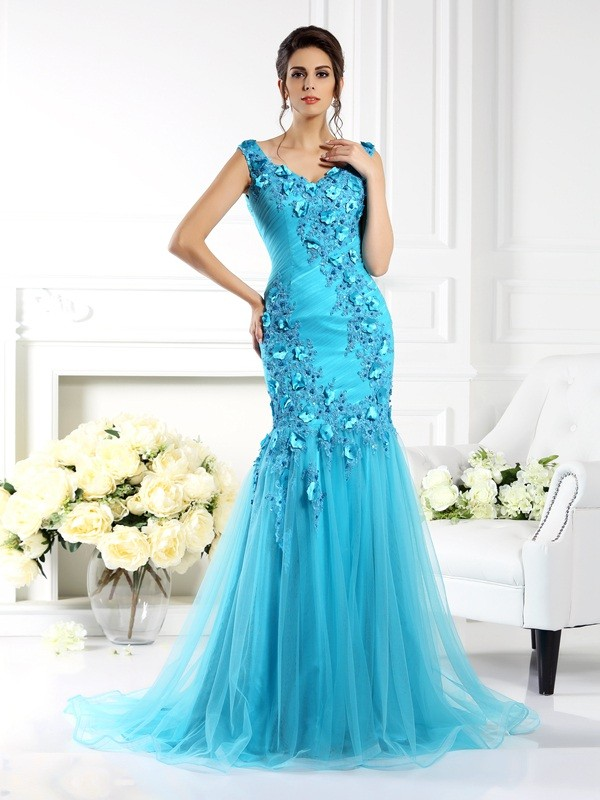 Trumpet/Mermaid Applique Straps Sleeveless Sweep/Brush Train Silk like Satin Dresses
