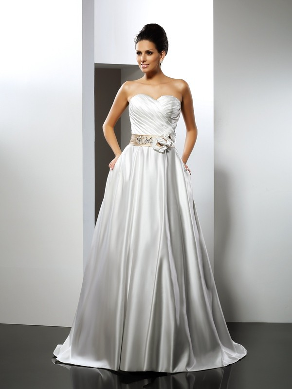 A-Line/Princess Hand-Made Flower Sweetheart Sleeveless Court Train Satin Wedding Dresses
