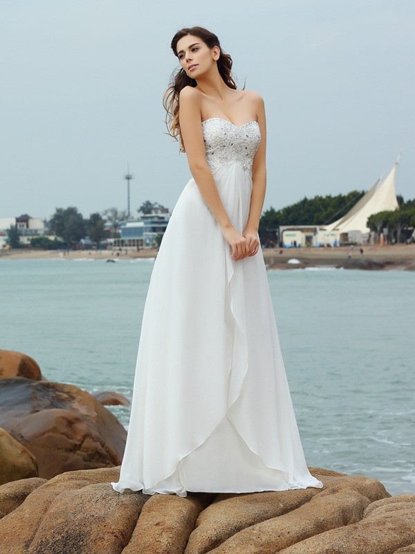A-Line/Princess Beading Sweetheart Sleeveless Floor-Length Chiffon Wedding Dresses
