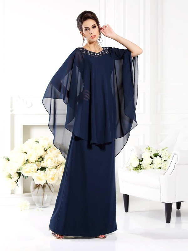 A-Line/Princess Scoop 3/4 Sleeves Floor-Length Chiffon Mother of the Bride Dresses