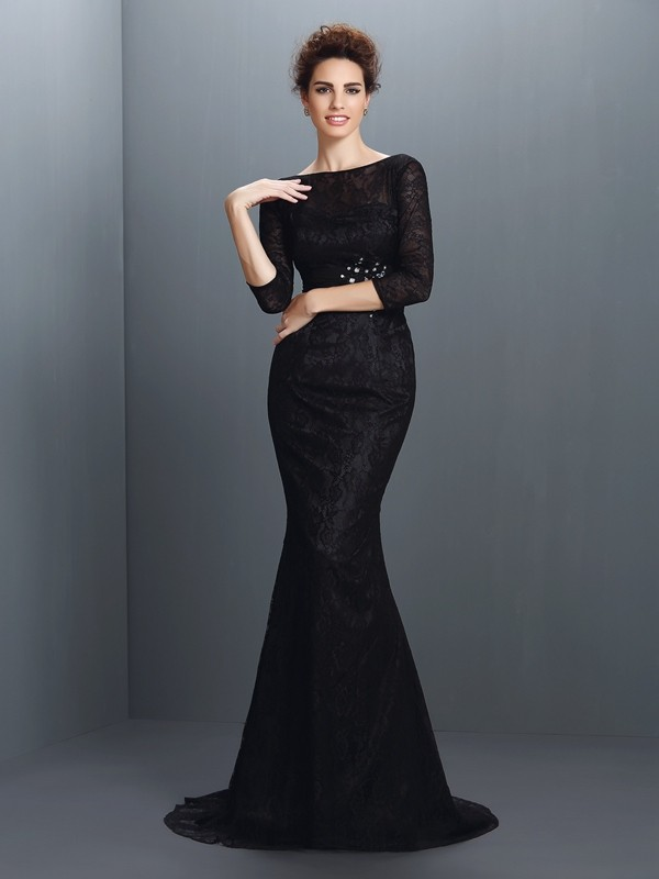 Trumpet/Mermaid Lace Bateau 3/4 Sleeves Sweep/Brush Train Elastic Woven Satin Mother of the Bride Dresses