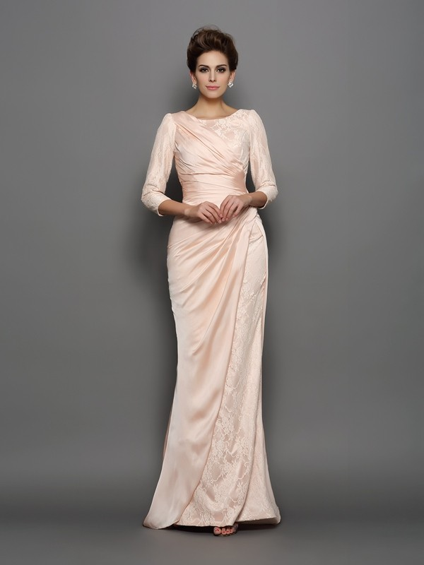 Trumpet/Mermaid Lace Bateau 3/4 Sleeves Sweep/Brush Train Chiffon Mother of the Bride Dresses