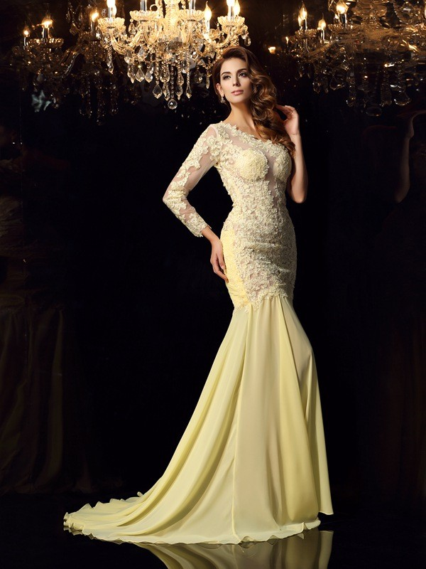 Trumpet/Mermaid Applique One-Shoulder Long Sleeves Chapel Train Chiffon Dresses