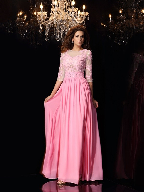 A-Line/Princess Applique Scoop 1/2 Sleeves Floor-Length Silk like Satin Dresses