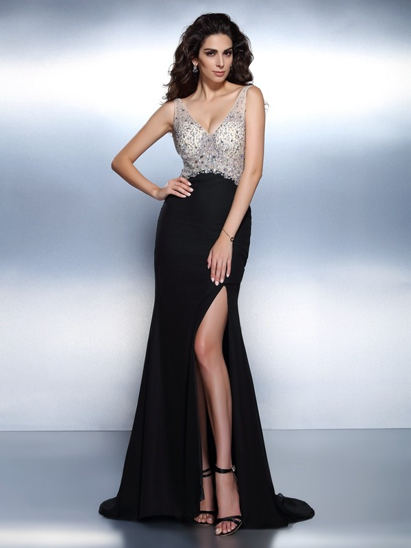Trumpet/Mermaid Beading V-neck Sleeveless Sweep/Brush Train Chiffon Dresses