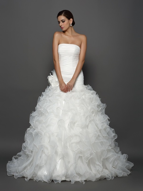 Ball Gown Hand-Made Flower Strapless Sleeveless Cathedral Train Organza Wedding Dresses
