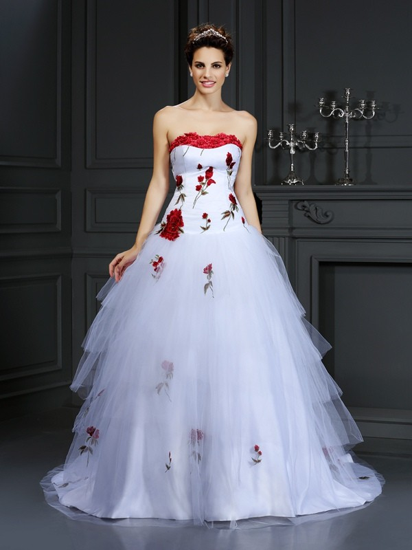 Ball Gown Hand-Made Flower Strapless Sleeveless Court Train Satin Wedding Dresses