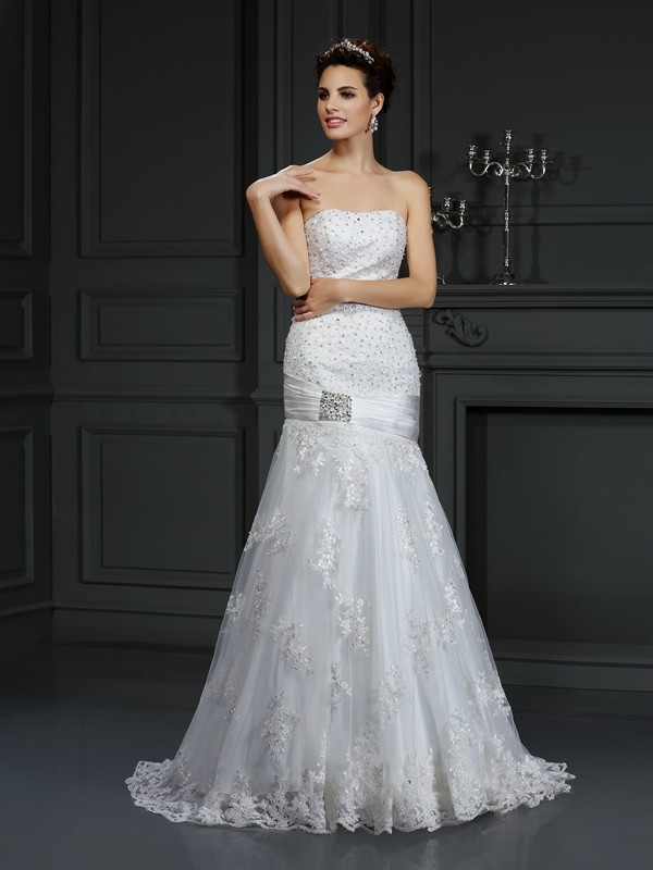 Sheath/Column Applique Strapless Sleeveless Court Train Satin Wedding Dresses