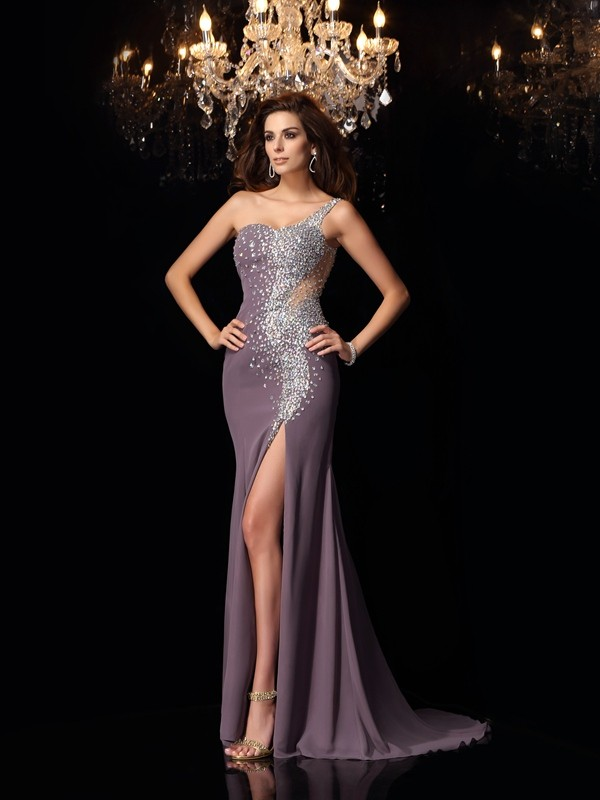 Trumpet/Mermaid Rhinestone One-Shoulder Sleeveless Sweep/Brush Train Chiffon Dresses