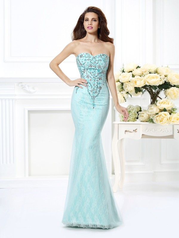 Trumpet/Mermaid Beading Sweetheart Sleeveless Floor-Length Net Dresses