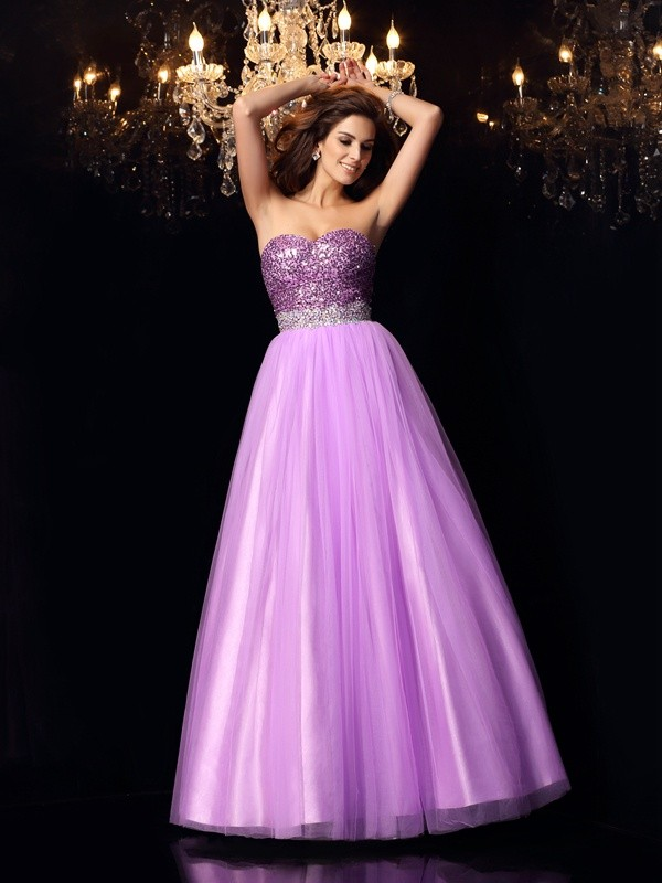 Ball Gown Sequin Sweetheart Sleeveless Floor-Length Elastic Woven Satin Dresses